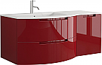 Anity 53 inch Modern Floating Bathroom Vanity Red Glossy Finish with Left Sink Top