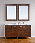 "James Martin Metropolitan Collection 60"" Double Vanity, American Walnut"