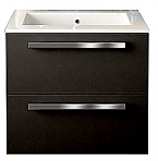 24 inch Modern Wall Mounted Bathroom Vanity Black Glossy Finish
