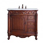 """36"""" Deep Chestnut Finish Vanity Cream or White Marble top with Matching Medicine Cabinet, Mirror, or Linen Cab Option"""