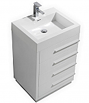 24 inch High Gloss White Finish Modern Bathroom Vanity with Four Drawers