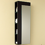 Contempo 39 inch Espresso Bathroom Linen Side Cabinet Large Mirror Door