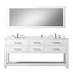 Cadale 60 inch White Double Sink Bathroom Vanity One Mirror