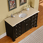 Accord Traditional 60 inch Bathroom Double Sink Vanity Crema Marfil Marble Top