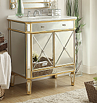32 inch Adelina Mirrored Gold Bathroom Vanity White Marble Top