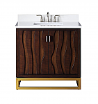 "Adelina 37"" Contemporary Collection Italian Wenge Vanity Quartz Stone Top"
