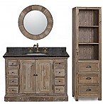 48 inch Rustic Single Sink Bathroom Vanity Marble Top