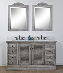 60 inch Double Sink Grey Driftwood Rustic Bathroom Vanity with multiple top options
