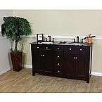 Bella 62 inch Double Sink Bathroom Vanity Black Granite Top
