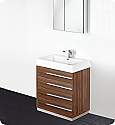 "30"" Walnut Modern Bathroom Vanity with Faucet, Medicine Cabinet and Linen Side Cabinet Option"