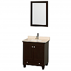 "Acclaim 30"" Single Bathroom Vanity in Espresso, Ivory Marble Countertop, Undermount Square Sink, and 24"" Mirror"