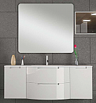 Anity 57 inch Modern Floating Bathroom Vanity White Glossy Finish