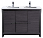 "Modern Lux 48"" Double Sink Gray Oak Modern Bathroom Vanity with White Quartz Counter-Top"
