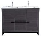48 inch Gray Oak Modern Double Sink Bathroom Vanity with White Quartz Top