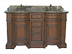 Adelina 60 inch Antique Double Sink Bathroom Vanity Chestnut Finish
