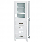 "Contemporary White 71-1/4"" Hardwood Linen Cabinet"