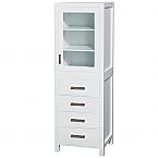 "Contemporary White 71-1/4"" Hardwood Linen Cabinet"