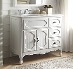 42 inch Adelina Antique Cottage Bathroom Vanity White Finish White Marble Countertop