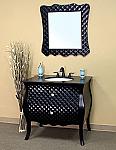 Bella 35 inch Black Bathroom Vanity Black Granite Countertop