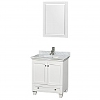 "Acclaim 30"" Single Bathroom Vanity in White, White Carrara Marble Countertop, Undermount Square Sink, and 24"" Mirror"
