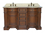 Adelina 60 inch Antique Double Sink Bathroom Vanity Cream Marble Top