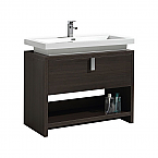 "Modern Lux 40"" Gray Oak Modern Bathroom Vanity w/ Cubby Hole"