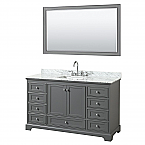 60 inch Transitional Dark Gray Finish Bathroom Vanity Set
