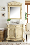 36 inch Adelina Antique Single Sink Bathroom Vanity, Creamy Beige finish
