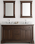 60 inch Antique Coffee Double Sink Bathroom Vanity with Mirror Marble Countertop