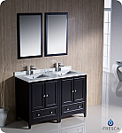 "48"" Espresso Traditional Double Sink Bathroom Vanity with Top, Sink, Faucet and Linen Cabinet Option"