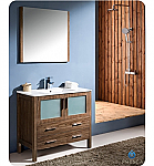 "Fresca Torino 36"" Walnut Modern Bathroom Vanity"