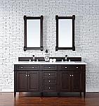 Abstron Contemporary 72 inch Double Sink Bathroom Vanity Mahogany Finish No Top