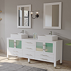 "71"" Solid Wood Vanity with a Porcelain Counter Top and Two Matching Vessel Sinks, Two Long-Stemmed Faucets options and Drains"
