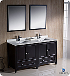 "60"" Espresso Traditional Double Bathroom Vanity with Top, Sink, Faucet and Linen Cabinet Option"