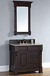 "James Martin Brookfield Collection 36"" Single Vanity with Drawers, Burnished Mahogany"