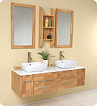 "59"" Wall Mounted Double Vessel Sink Floating Bathroom Vanity"