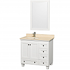 "Acclaim 36"" Single Bathroom Vanity in White, Undermount Square Sink, and 24"" Mirror with Countertop Options"