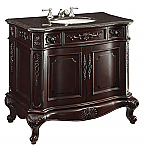 36 inch Adelina Antique Bathroom Vanity Dark Cherry Finish, Granite Top