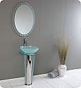 17 inch Modern Glass Bathroom Vanity with Mirror