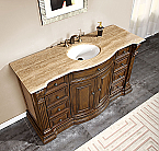 Accord Antique 60 inch Single Sink Bathroom Vanity Chestnut Finish