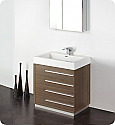 "30"" Gray Oak Modern Bathroom Vanity with Faucet, Medicine Cabinet and Linen Side Cabinet Option"