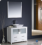 "Fresca Torino 36"" White Modern Bathroom Vanity Vessel Sink with Faucet and Linen Side Cabinet Option"