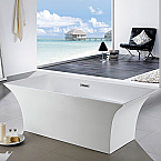 "Abana 66"" x 31"" White Rectangle  Soaking Free-Standing Bathroom Tub"