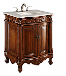 "27"" Deep Chestnut Finish with Imperial White Marble Top and Matching Medicine Cabinet"
