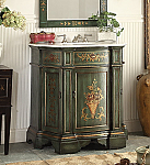 35 inch Adelina Antique Hand Painted Dark Green Bathroom Vanity