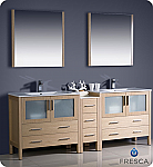 "Fresca Torino 84"" Light Oak Finish Modern Double Bathroom Vanity"