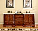 Accord 87 Inch Antique Double Sink Bathroom Vanity with Creme Marfil Top