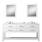 Cadale 72 inch White Double Sink Bathroom Vanity Two Mirrors