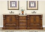 Art Exclusive 95 inch Double Bathroom Vanity Travertine Countertop
