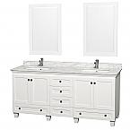 72 inch Contemporary Bathroom Vanity White Finish Set